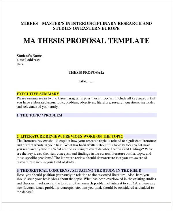 5+ Thesis Proposal Templates - Free Samples, Examples Format - proposal samples