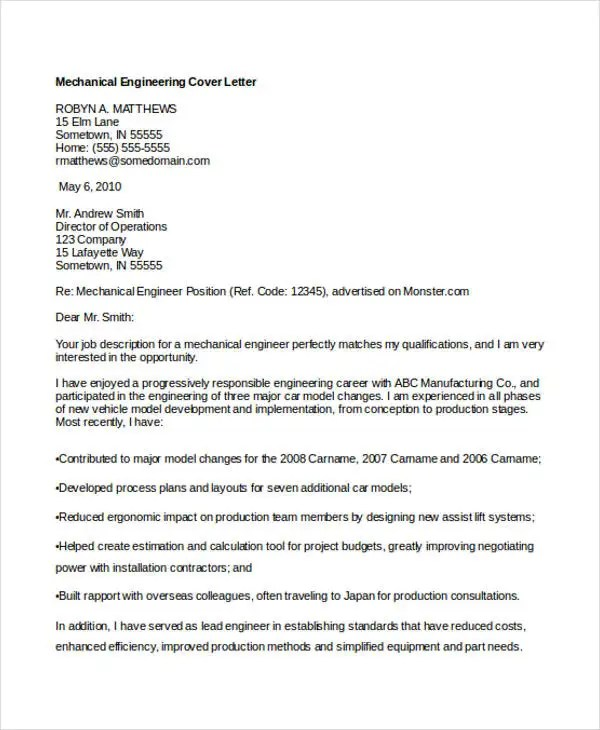 Engineering Cover Letters - 11+ Free Word, PDF Format Download