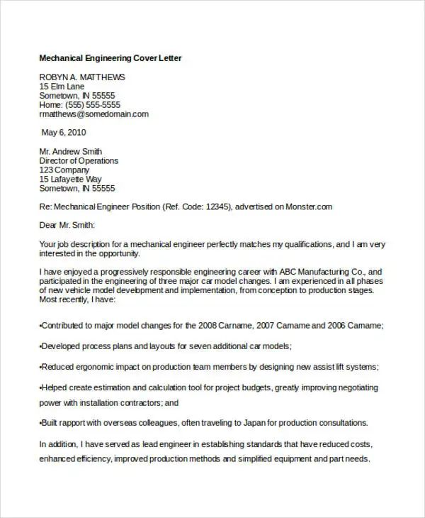 example of application cover letter