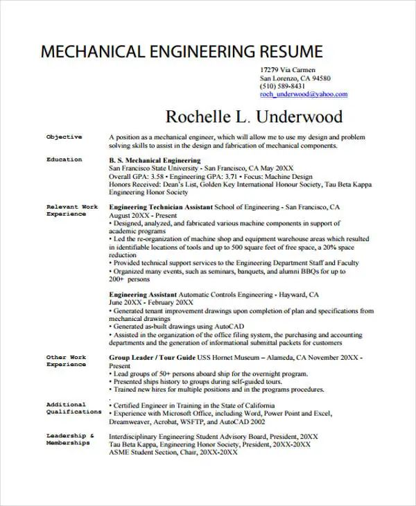 keywords in resume for mechanical engineer