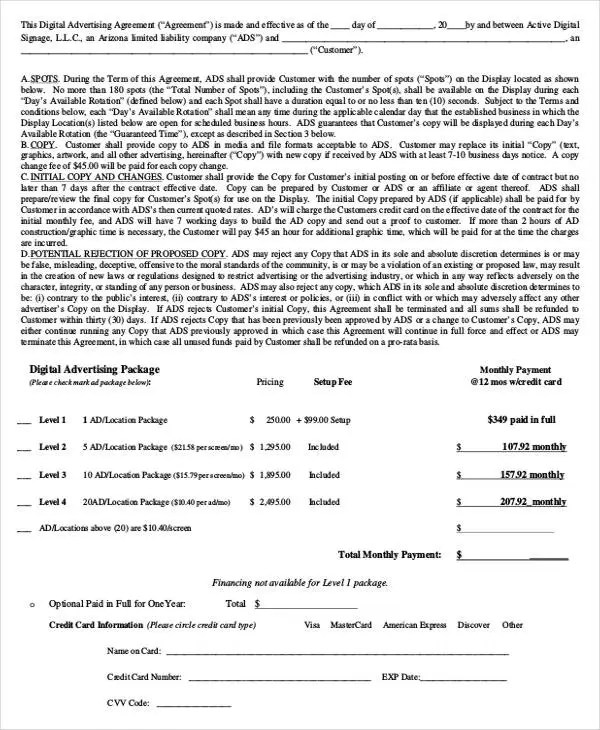 Advertising Contract Template Advertising Agency Contract Template