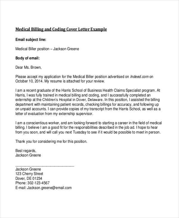 cover letter for medical billing position