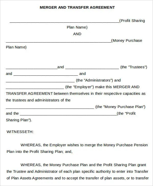 Merger Agreement Templates - 10 Free Word, PDF Format Download