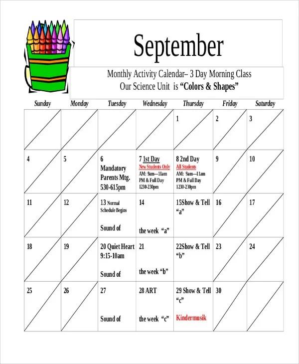 8+ Activity Calendar Templates - Free Samples, Examples format - sample activity calendar template