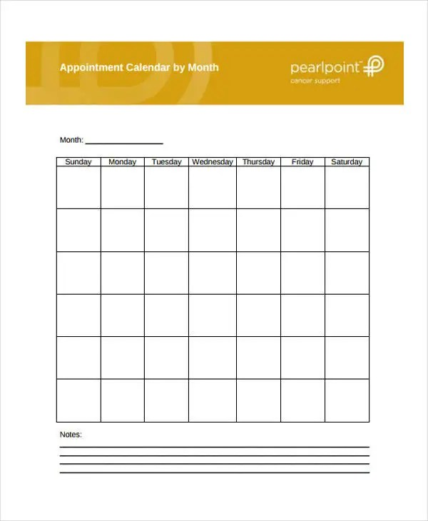6+ Appointment Calendar Templates - Free Sample, Example format