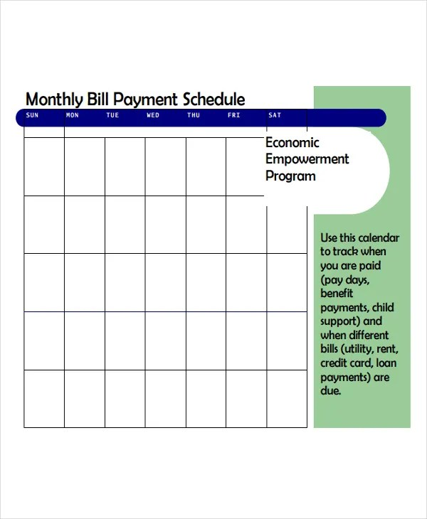 4+ Bill Payment Schedule Templates - Free Samples, Examples Format