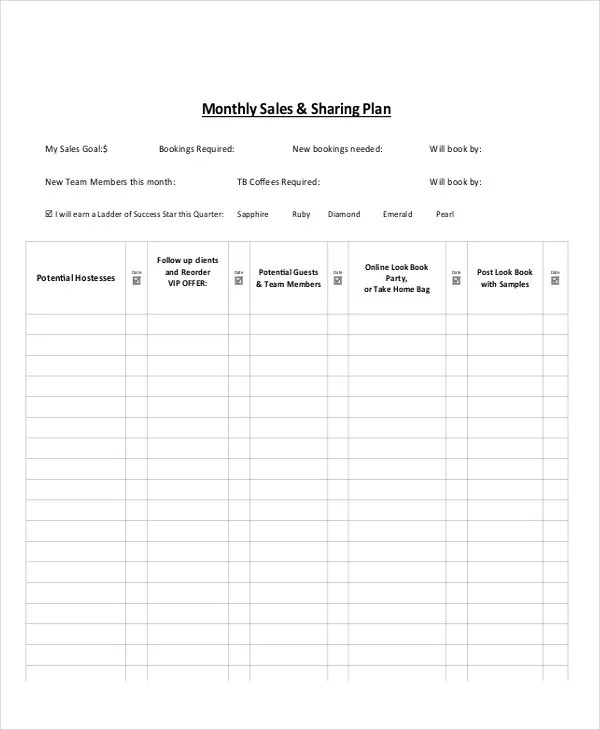 7 Monthly Sales Plan Templates - Free Sample, Example, Format - how to write a sales plan template