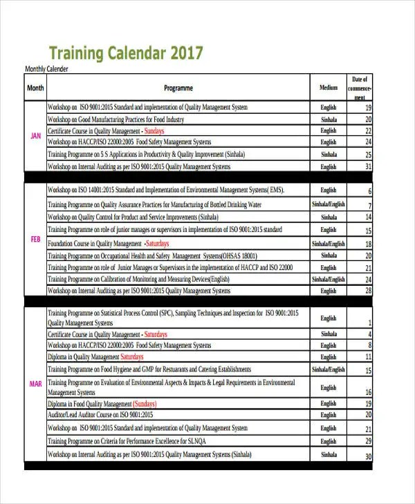 safety training calendar template - Canasbergdorfbib