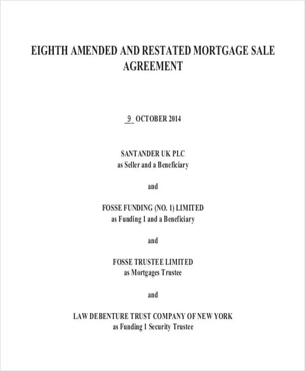 Mortgage Agreement Template Mortgage Purchase Agreement 6+ - sample security agreement