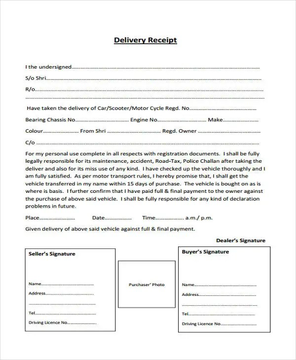 motor vehicle delivery receipt - Romeolandinez