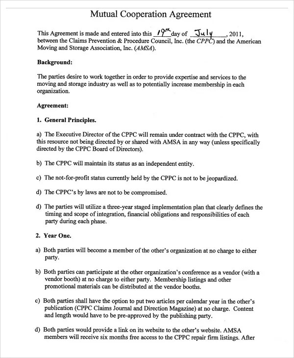 9+ Cooperation Agreement Templates - Free Sample, Example Format - mutual agreement contract