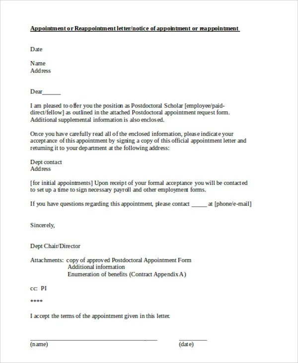 Official Appointment Letters - 8+ Free Samples, Examples Format