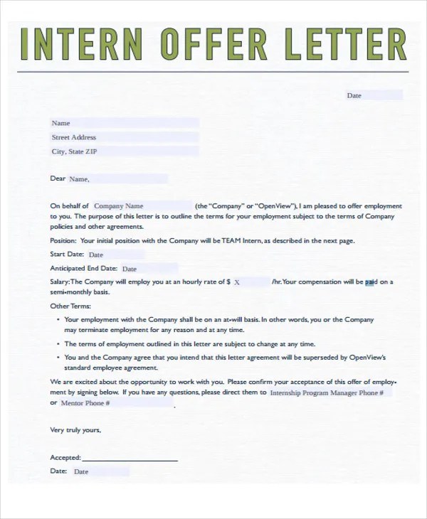 intern offer letter sample - Kopeimpulsar