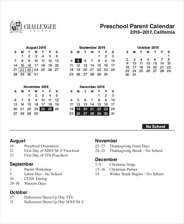 8+ Preschool Calendar Templates - Sample, Examples Free - preschool calendar template
