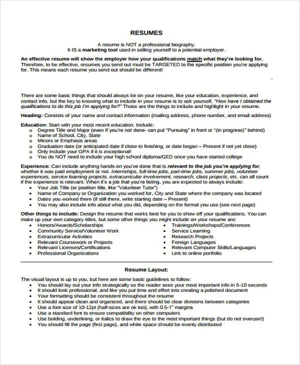 9+ Summer Job Resume Templates - PDF, DOC Free  Premium Templates - what to include on a resume