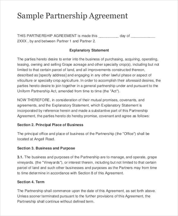 9+ Partnership Contract Templates - Free Sample, Example, Format - business partnership contract sample