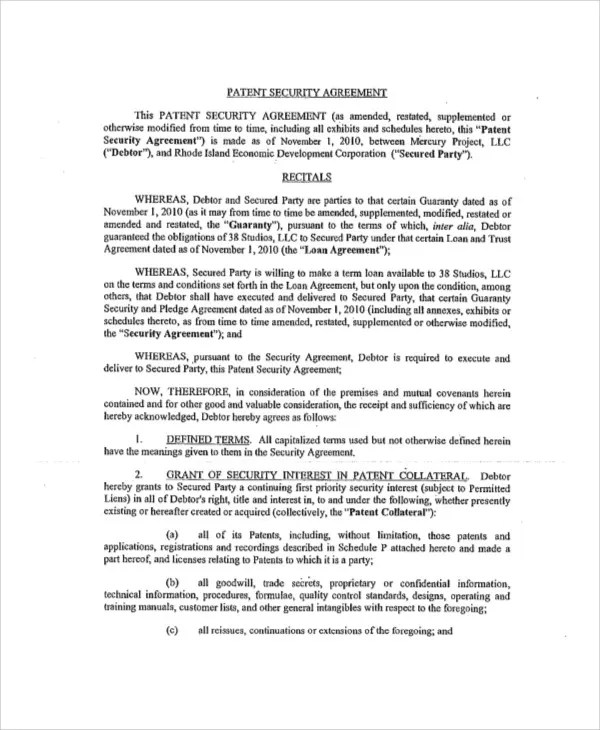 Patent Agreement Templates - 12 Free Word, PDF Format Download - security agreement template