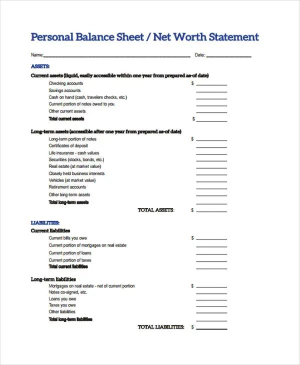 sample small business balance sheet
