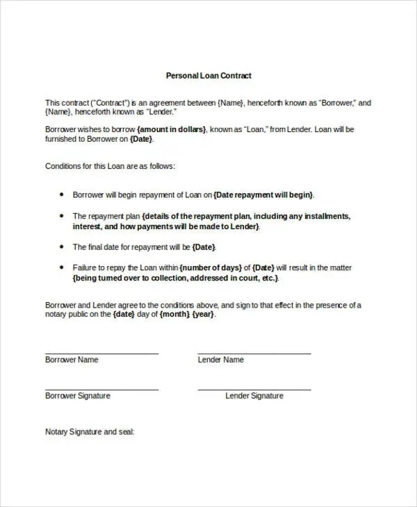 9+ Loan Contract Templates - Free Sample, Example Format Download - contract of loan sample
