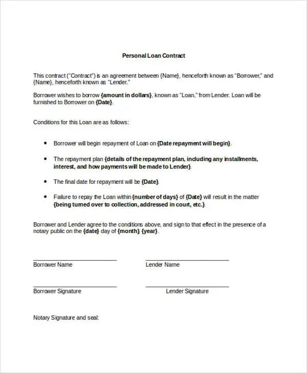 how to write a personal loan contract