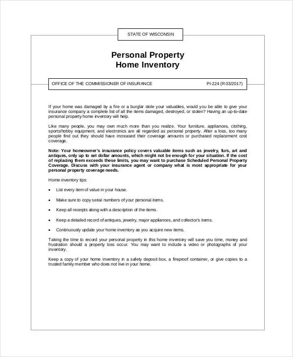 Property Inventory Template 7+ spreadsheet inventory costs - property inventory template