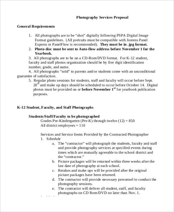 Photography Business Proposal Templates - 11+ Free Word, PDF Format
