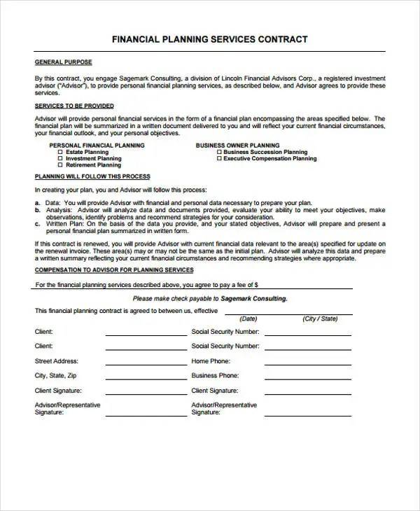 Planner Contract Templates - 6+ Free PDF Format Download Free