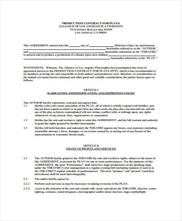Production Contract Templates - 9+ Free Word, PDF Format Download