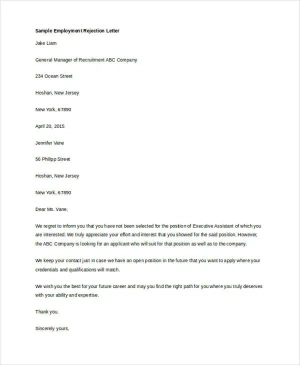 Polite job applicant rejection letter, Essay Academic Service