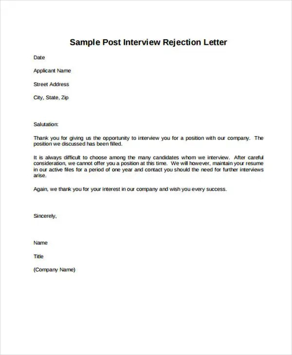 rejection letter after interview - Ozilalmanoof