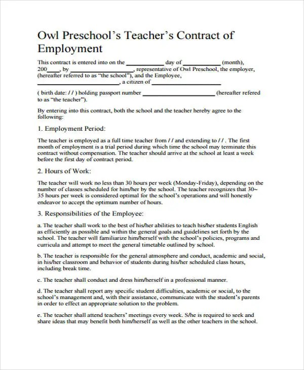 9+ Teacher Contract Templates - Free Word, PDF Format Download