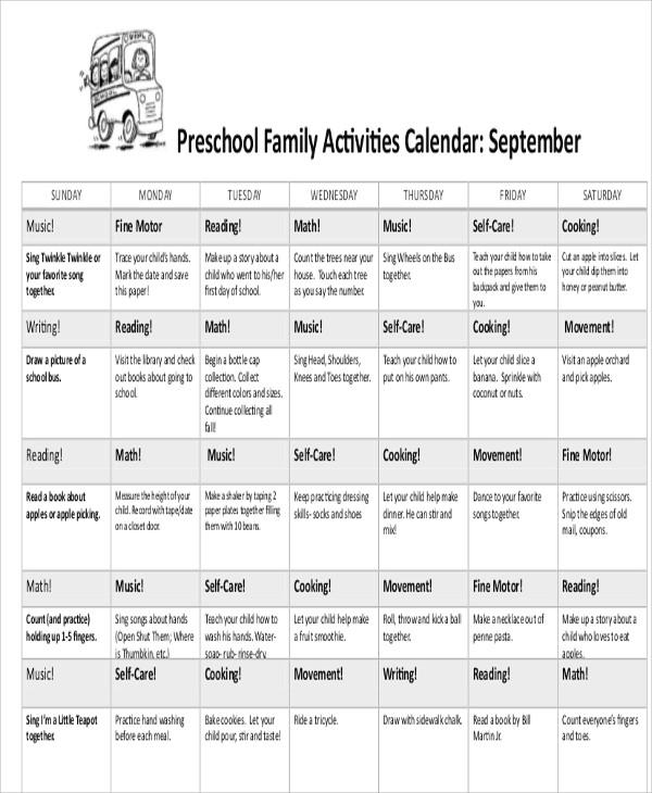 8+ Preschool Calendar Templates - Sample, Examples Free  Premium