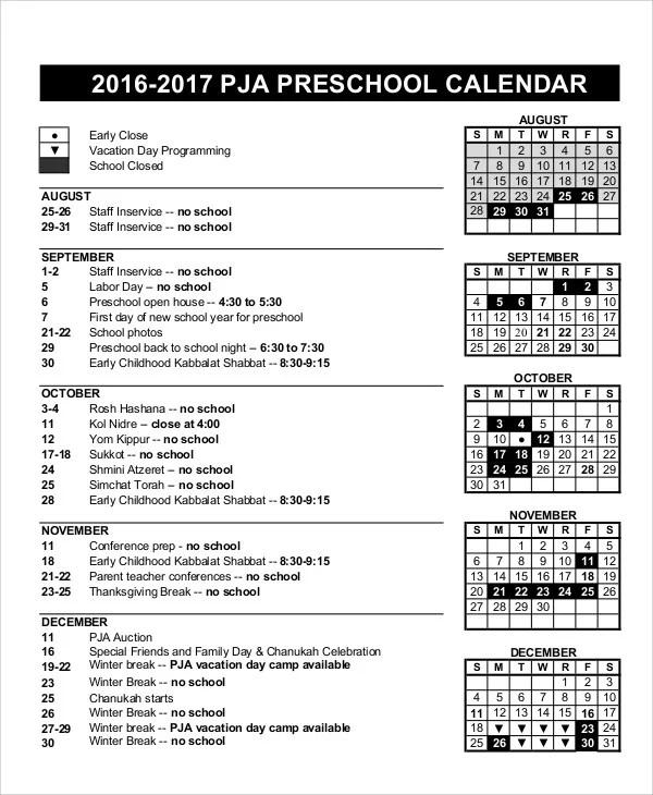 sample school calendar hitecauto - preschool calendar template