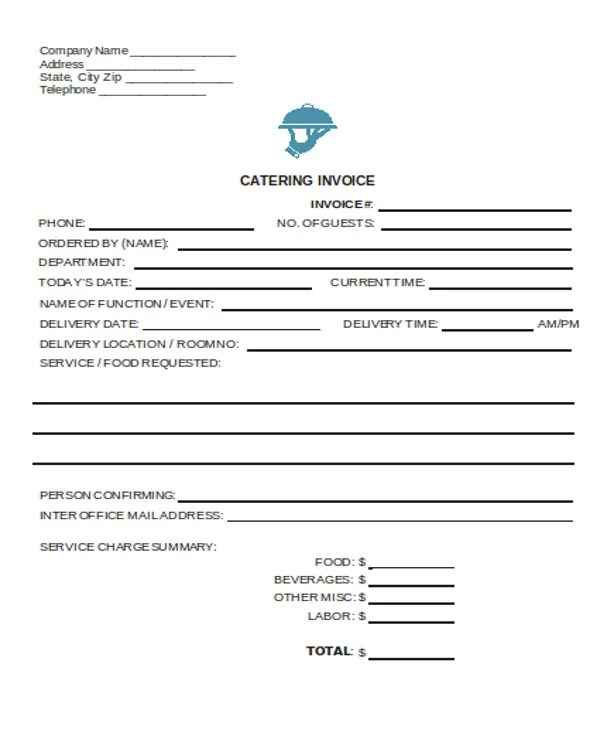 6+ Catering Receipt Templates - Free sample, Example Format Download - sample catering invoice