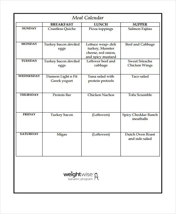 Meal Calendar Templates - 10+ Free Word, PDF Format Download Free