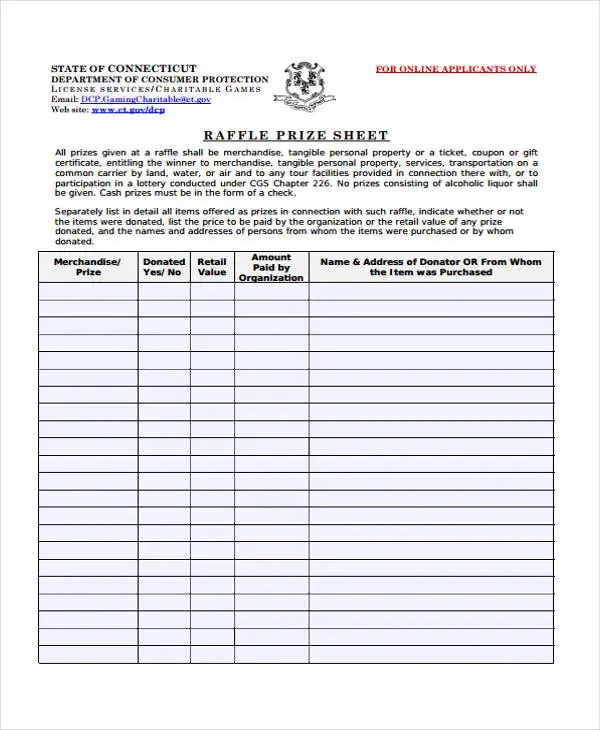 Example sign in sheet nfgaccountability – Raffle Sheet Template