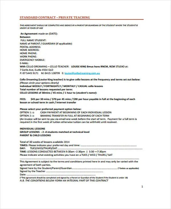 Teacher Contract Templates MenS Basketball Coach Contract Example - student contract templates