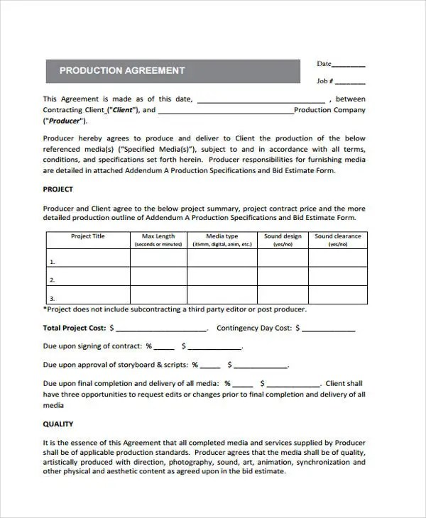 Production Contract Agreement film production contract template - production contract agreement