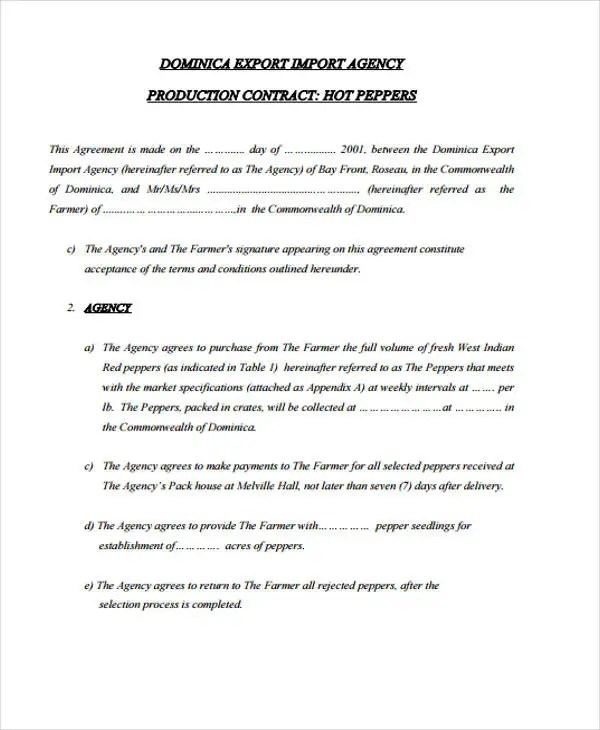 10+ Production Contract Templates - Sample, Example Free  Premium