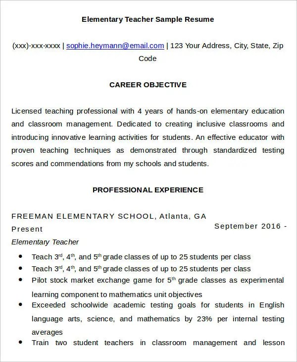 teacher resume samples co  teacher resume samples