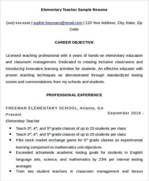 professional teacher resume templates