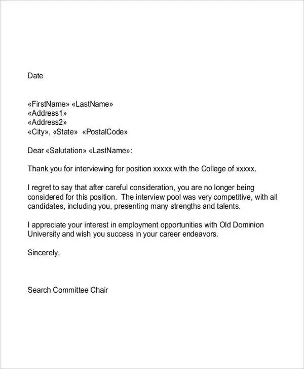 Employment Rejection Letters - 8+ Free Word, PDF Format Download - employment rejection letter