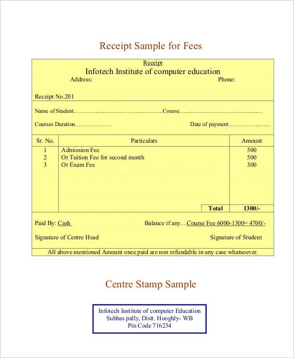 3+ Fee Receipt Format Templates - PDF Free  Premium Templates