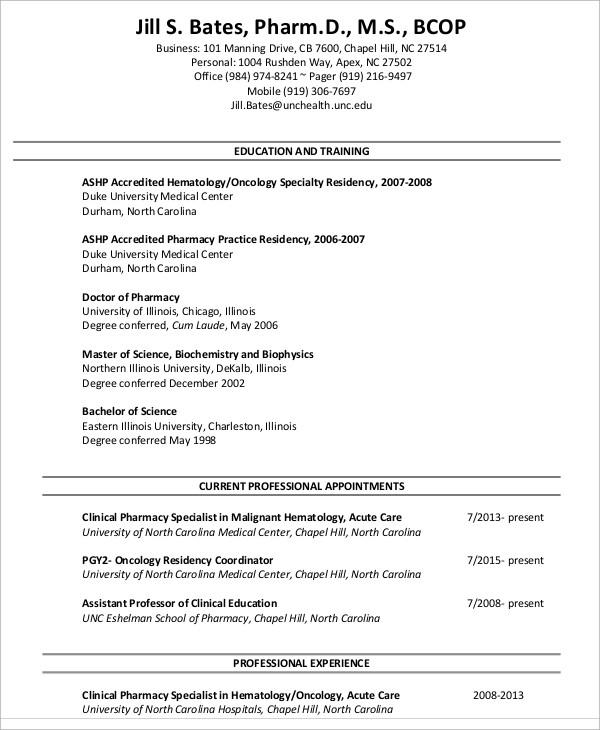 9+ Pharmacist Curriculum Vitae Templates - PDF, DOC Free  Premium - clinical trials pharmacist sample resume