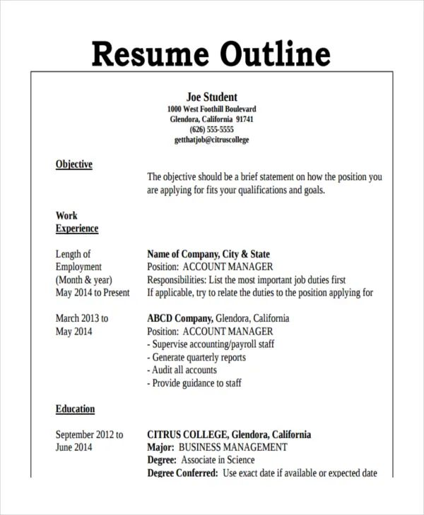 how to make a resume outline