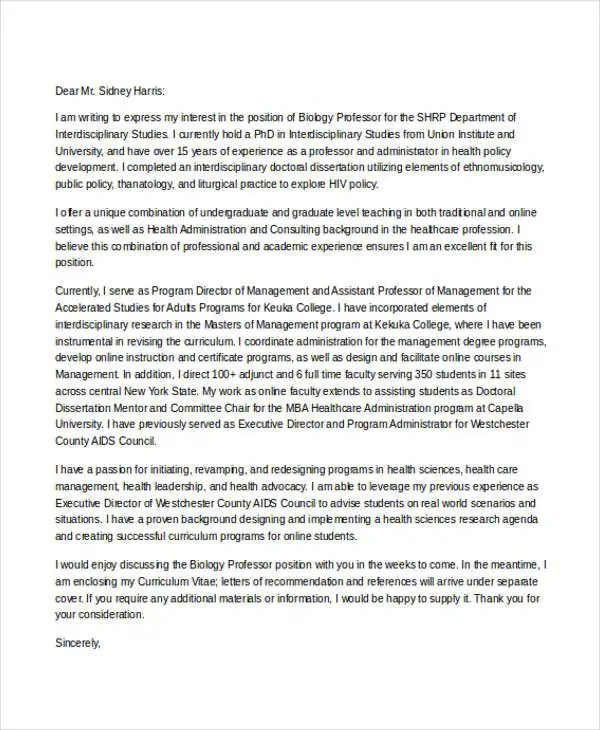 6+ Biology Cover Letters - Free Samples, Examples Format Download