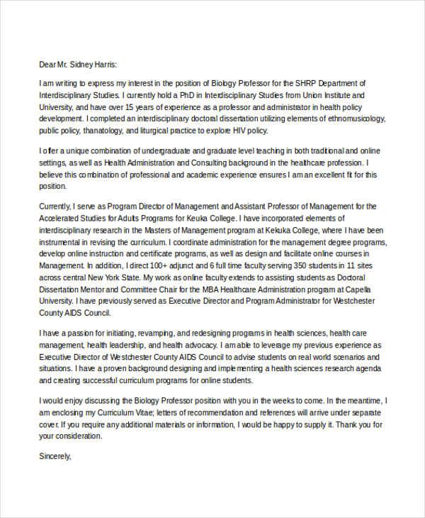 cover letter for professor job