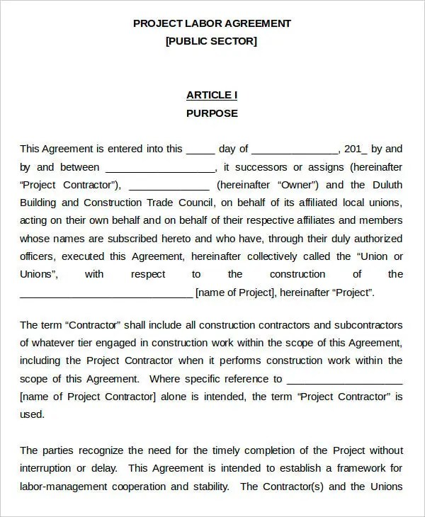 4+ Labor Agreement Templates - Free Samples, Examples Format
