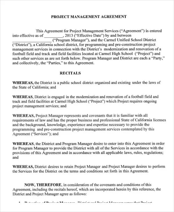 9+ Management Agreement Templates - Free Sample, Example Format - management agreement