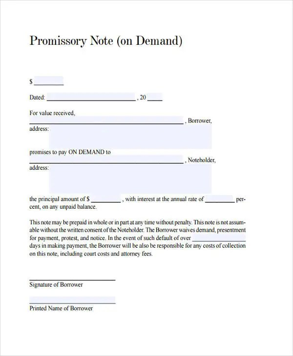 25+ Sample Note Templates Free  Premium Templates - demand note template
